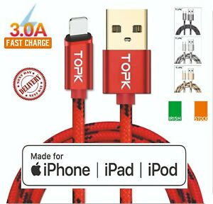Charging CableFor iPhone 7 8 6 5 X 11 Pro 12 Quick Charger Fast 1m 2m TOPK USB