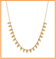 Collier pampilles Perles de Cristal Doré Et Plaqué Or 18 Carats Bijoux Femme