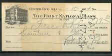US THE FIRST NATIONAL BANK OF CUSTER CITY, OKLAHOMA CANCELLED CHECK 5/15/1924