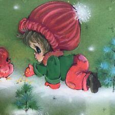 25 NOS Vintage Christmas Greeting Cards In Package Hallmark Cute Girl Big Eyes