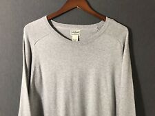LL Bean Mens Cotton Cashmere Sweater Crew Neck Size XXL 2XL Gray Long Sleeve