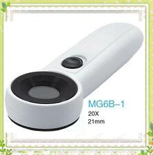 20X Optical Glass Handheld Magnifying Glass f Analysis Iridology w/ 2 LED Lamps