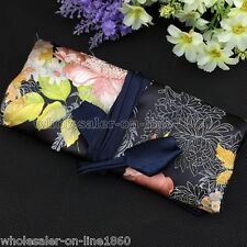 BLACK SILK SATIN JEWELRY TRAVEL BAG Roll Case Pouch Carrying Brocade Fabric