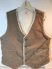 Vtg Levis Corduroy Vest Mens Sherpa 70s Jacket Tan 60606 1523 Rockabilly Large
