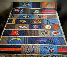 "PB Teen Pottery Barn NFL Football Team Quilt Blanket 72"" x 90"", Cotton/Polyester"