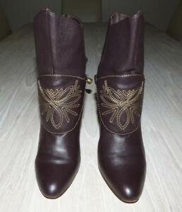 $220 MOLLINI BROWN embroidered LEATHER BOOTS 38 / 7.5 cuban heel plaited belt xc