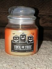 YANKEE CANDLE HALLOWEEN CANDY CORN & BUTTERCREAM SWIRL MED JAR CANDLE RARE NW