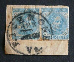 1862 US CSA S#6, 5c Confederate States J Davis, lt blue, on paper with Postmark