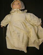 "Antique 14"" Ceramic Porcelian Infant Doll In Lace Bonnet & Gown Dated 1923 V.G."