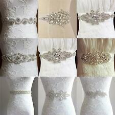 UK Luxury Vintage Crystal Sash Rhinestone Pearl Beaded Wedding Dress Bridal Belt