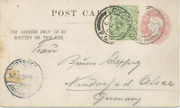 GB 1906 QV ½ D embossed stamped to order postal stationery pc uprated EVII 1/2