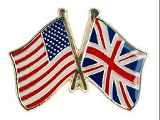 UNION JACK UK AND USA FRIENDSHIP FLAG Metal Lapel Pin Badge Butterfly Clasp
