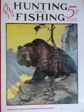 Hunting & Fishing Magazine Cover Poster, Aug. 1931, Artist Parsons, Brown Bear