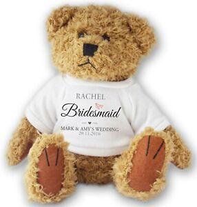 Personalised BRIDESMAID wedding teddy bear thank you gift - allted11