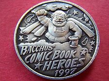 1997 BACCHUS' COMIC BOOK HEROES Oxidized Silver High Relief Mardi Gras Doubloon