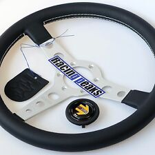 MOMO Prototipo Leather Steering Wheel 350mm SILVER NEW Sport Competition Tuning