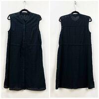 Who What Wear XL Womens Black Eyelet Layer Sleeveless A-line Midi Dress