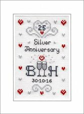 25th Silver Wedding Anniversary Cross Stitch Card Kit