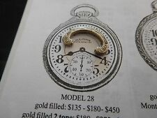 16 SIZE ILLINOIS BUNN SPECIAL POCKET WATCH BOW IN WHITE FOR MODEL 28