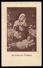 CRIB'S LILIES - VIRGIN MARY CHILD JESUS & LILIES Old 1937 HOLY CARD