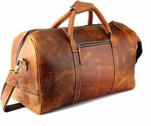 Bag Leather Travel Men Duffel Luggage Gym  Vintage Weekend Brown Genuine New