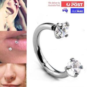 Crystal Horseshoe Ring Hoop Ball Awl Bar Cartilage Septum Helix Tragus Piercing