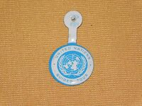 VINTAGE UNITED NATIONS NYC NEW YORK CITY GUIDED TOUR FOLD TOP OVER  BUTTON