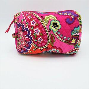 Vera Bradley Pink Floral Paisley Large Cosmetic Makeup Travel Bag Zipper Closure