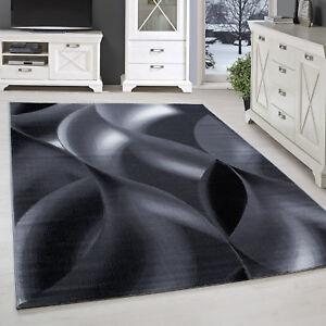 Kurzflor Teppich Wohnzimmerteppich Schattenmuster Hellgrau Schwarz Meliert