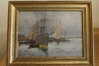 oil on panel  boat E. Galien Laloue ship and boats harbour scene fully signed