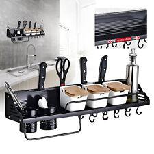 80cm Gewürzregal Küchen Wandregal Küchenablage Hängeregal mit 10 Haken DHL