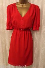 Vestido de fiesta Inserto De Encaje Jarlo Panel Rojo Mangas Cortas de botón frontal nuevo 14 42