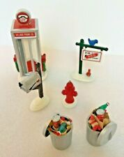 6 Dept 56 ACCESSORIES Telephone Booth Garbage Cans For-Sale Sign Mailbox Hydrant