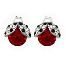 Silvertone Crystal Ladybug Earrings Post Stud Lady Bug Gift Boxed Fast Shipping