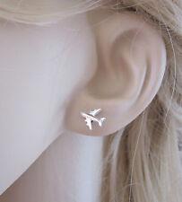 925 sterling silver 8x10mm AEROPLANE AIRPLANE PLANE stud earrings
