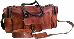 """18"""" Leather Duffle Bag Men's Travel Carry-on Luggage overnight Gym weekender Bag"""