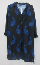 Ann Taylor Peacock Shift Dress - Womens Medium - Black/Blue - NWT