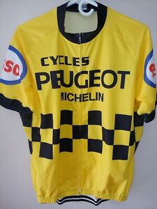 Men's XXL Cycling Jersey Full Zip ESSO Gasoline Michelin Peugeot Cycles