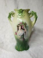 Antique Vase Austria Portrait Urn Vintage Reticulated Handle Floral Gold Rare 6""