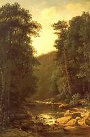 Oil painting george hetzel - woodland stream landscape with sunset no framed art