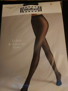 Wolford Velvet De Luxe 50 Tights Black Size L New Unopened Pack RRP £32