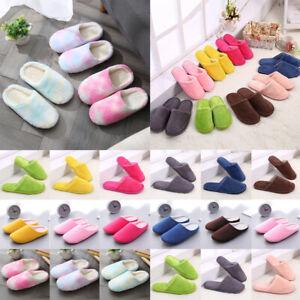 Women Men Anti-Slip Indoor Slippers Home Warm Fleece Shoes Sandals House Winter