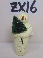 VINTAGE DEPARTMENT 56 CHRISTMAS ORNAMENT SNOWMAN HOLDING TREE WITH CRACK