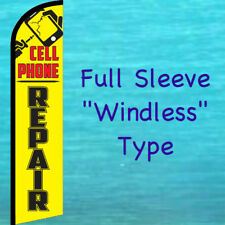 CELL PHONE REPAIR WINDLESS FEATHER FLAG Yellow Curved Advertising Sign Banner