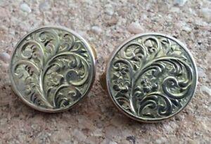 Antique batchelor buttons cuff buttons Pair Gold tone