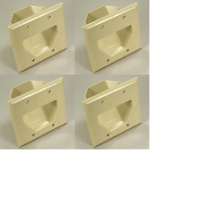 Ivory 4-Gang Recessed Wall Plate Pass Through Low Voltage Cable Management Face