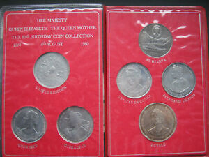 Queen Mother 80th Birthday 7 coin Crown set in card holders