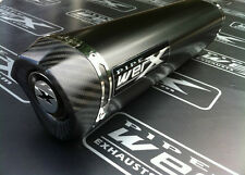 2012 + Kawasaki ZZR 1400 Pair of Black Tri Oval Carbon Outlet Exhaust Cans