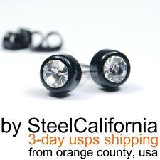 Black diamond stud earrings, mens post earrings, Size M, L