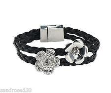 Lederarmband Armband Magnetverschluß Blüten Strass   Schwarz   54058 **